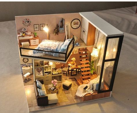 DIY Doll House Wooden Miniatura Doll Houses Miniature Dollhouse Toys with Furniture Kit Toys for Chi
