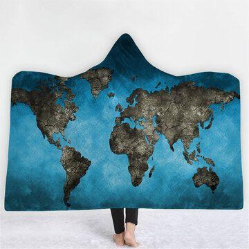 150 200 سنتيمتر 3d رقمي طباعة خريطة العالم الكبار بطانية مقنعين يمكن ارتداؤها البطانيات المعمرة Hooded Blanket Constellation Map Blanket