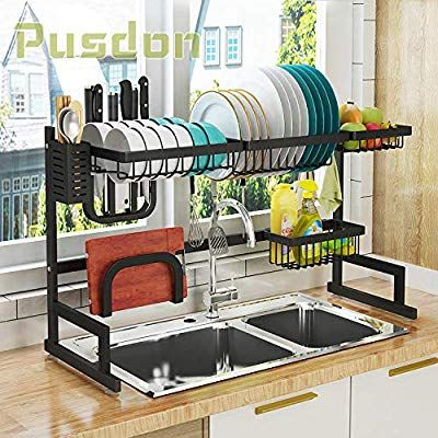 Amazon Com Over Sink 32 Dish Drying Rack Drainer Shelf For Kitchen Supplies Storage Counter Organizer Utensils Sink Sizes Kitchen Supplies Kitchen Shelves