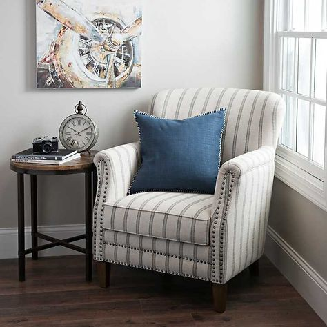 Flax Pinstripe Accent Chair Accent Chairs For Living Room