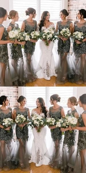 See Through Long Lace Applique Cheap Uniuque Formal Bridesmaid Dresses,WG373