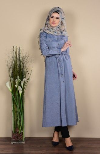 Sefamerve Dugmeli Uzun Tunik 1164 01 Gri Fashion Hijab Fashion Dresses