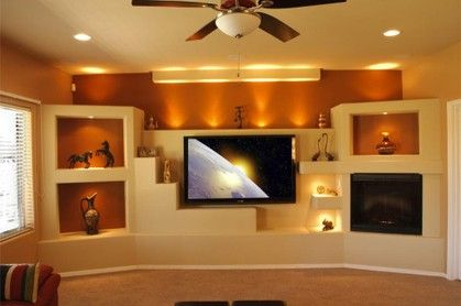 cosy drywall entertainment centers. Contemporary Southwest style custom media wall home entertainment center  with multiple niches and lighting for collectibles Design cust