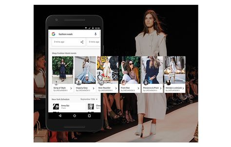 Google 's getting into the search now, buy now game. The search giant today unveiled a new fashion week-centric search feature that helps mobile users easily access a show schedule, view images from each collection, get access behind-the-scenes content directly supplied by certain designers and buy looks seen both on and off the runway.