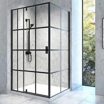 Jono Gaia 48 In X 36 In Matte Black Corner Shower With Pivot Door And Base Corner Shower Pivot Doors Corner Shower Doors