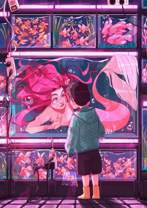 Pop Art Girl Comic Illustration Ideas For 2019 Art Inspo, Inspiration Art, Cartoon Kunst, Cartoon Art, Cartoon Drawings, Art And Illustration, Mermaid Illustration, Fantasy Kunst, Fantasy Art