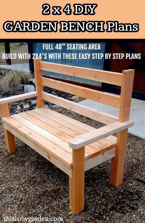 Build this sturdy and comfortable bench using only 2 x 4 lumber. A great addition to your outdoor space. Outside Benches, Yard Benches, Porch Bench, Wood Bench With Back, Diy Wood Bench, Built In Bench, Pallet Bench Diy, Rustic Outdoor Benches, Cama Design