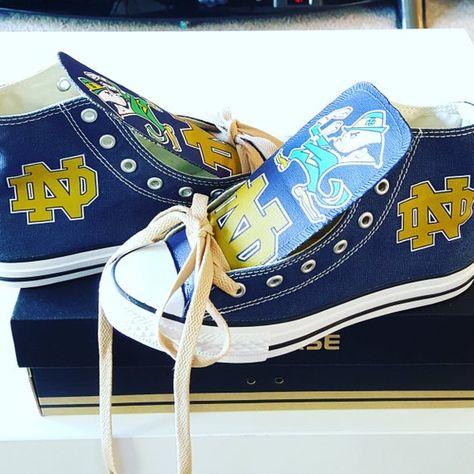 Custom Notre Dame Converse | Custom Notre Dame Chucks | Adult Size | Version 3