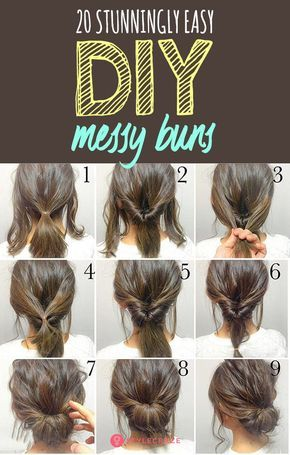 20 Stunningly Easy DIY Messy Buns: The best part about the messy bun is that it gives you the perfect I-just-got-up-and-I-look-this-awesome look in under 5 minutes! Read on to pick your favorite messy bun. for short hair 20 Stunningly Easy DIY Messy Buns Medium Hair Styles, Curly Hair Styles, Easy Updos For Medium Hair, Simple Hair Updos, Medium Length Hair Updos, Updos For Medium Length Hair Tutorial, Easy Updo For Work, Medium Hair Braids, Hair Medium