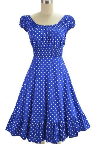 picture perfect peasant sun dress - blue & white polka dot