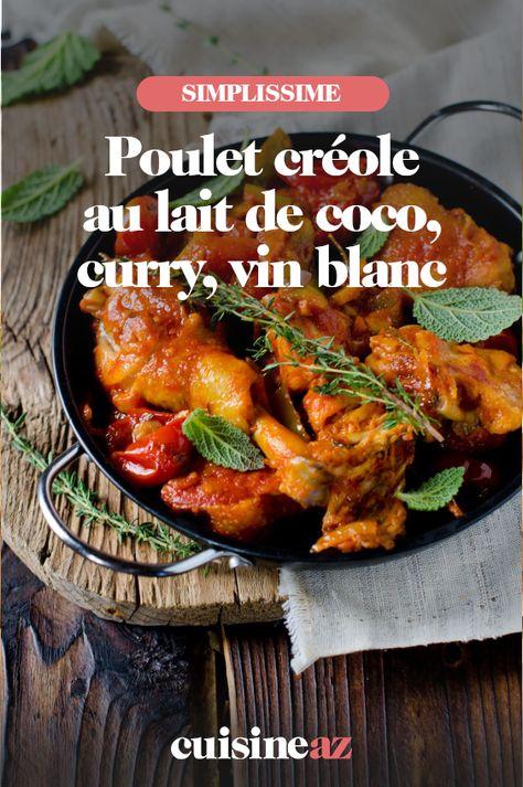Poulet créole au lait de coco, curry, vin blanc
