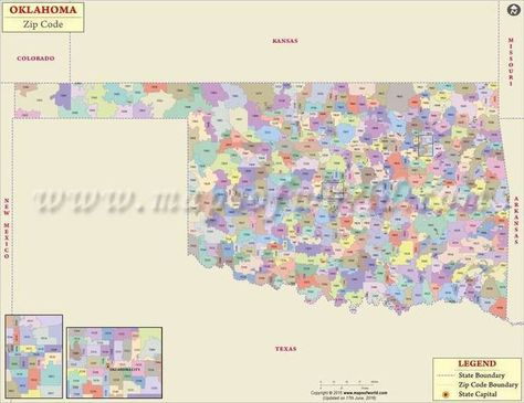 Oklahoma Zip Code Map Pinterest