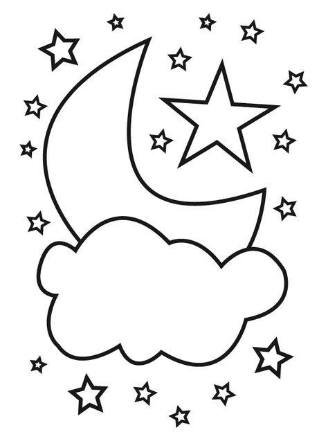 Gambar Bulan Dan Bintang Untuk Mewarnai