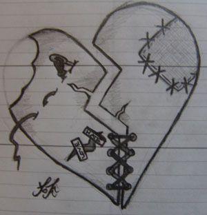 shattered heart stitching - #heart #shattered #stitching