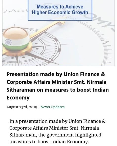 The Honorable #PrimeMinister of #India Shri @narendramodi Shri #NarendraModi tweeted about the measures announced by The Honorable #Finance #Minister of #India Smt. @nsitharaman Smt. #NirksaSitharaman yesterday which would #facilitate #ease of #doing #business #improve #demand #affordable #credit and woud further #boost the overall #Indian #Economy..Special Courtesies : Shri #NarendraModi Honorable #PrimeMinister of #India Smt. #NirmalaSitharaman Honorable #Finance #Minister of India..#NAMO #APP