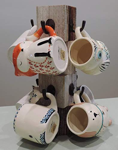Enjoy Exclusive For Farmhouse Coffee Mug Tree Wooden Cup Holder Kitchen Display Stand Counter Top Storage Hanger 8 Mugs Black White Red 14 Color Options In 2020 With Images Coffee Mug Display
