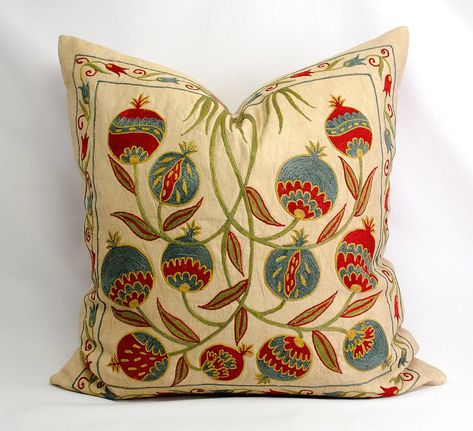 Silk hand embroidered suzani pillow,50cm x 50cm,20x20 inches,suzani pillow case,suzani cushion,handmade pillowcase,home decoration,68