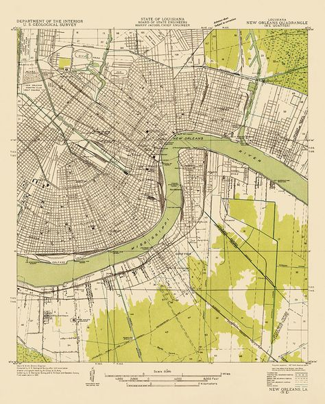 Usgs Topographic Map Of New Orleans 1932 New Orleans Map Map