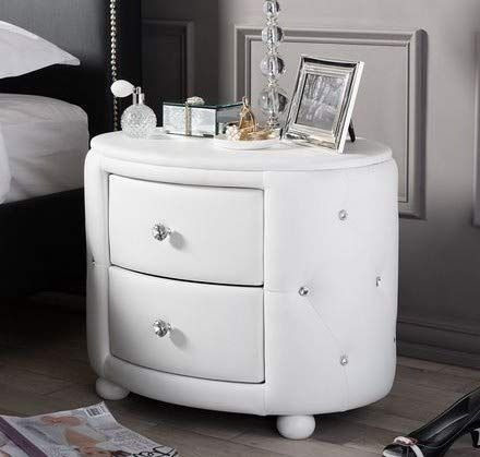 Nightstand Bedstand White Oval Shaped Faux Leather Upholstered