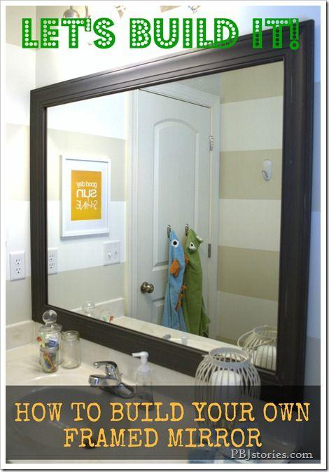 diy FRAME the giant huge mirror in the kids bathroom (instead of ...