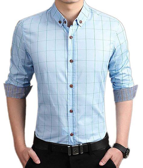 RRINSINS Mens Checked Color Block Long Sleeve Non-Iron Plaid Shirt Top