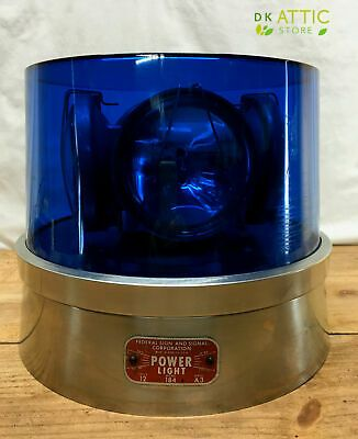 Federal Signal Power Light Model 184 Beacon Light Blue Lens Beautiful Ebay Lights And Sirens Beacon Lighting Warning Lights
