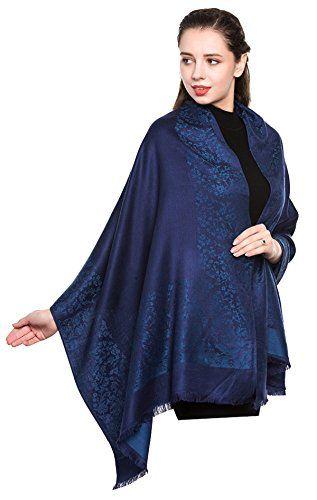 World of Shawls Damen Blumen Paisley eingefasst Pashmina Feel Schal Schal gewickelt Stahl Luxuri/öse warm weich und seidig Touch