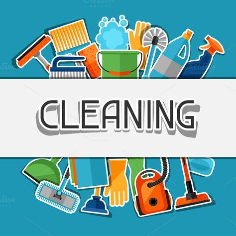 Backgrounds with cleaning icons. by incomible on @creativemarket