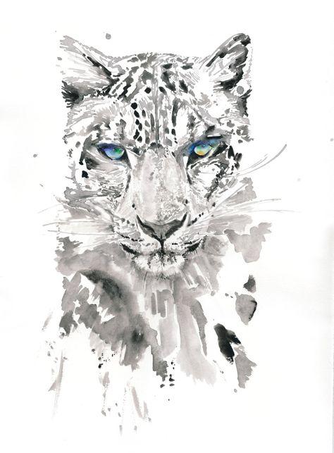 Leopard Aquarell Druck Kunst Etsy Katze Malen Wasserfarben