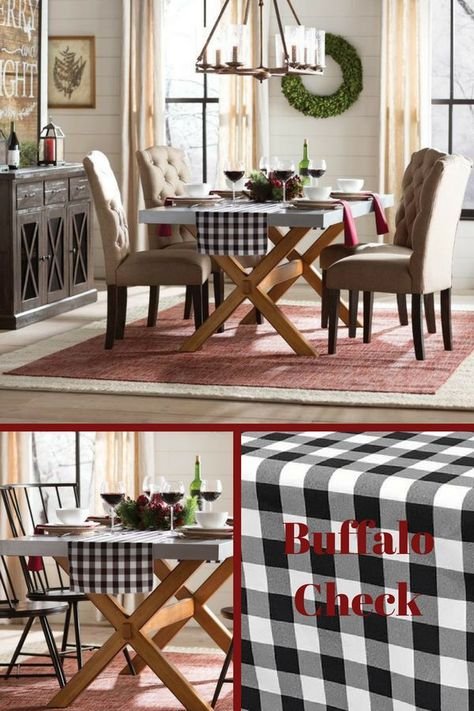 i m in love with buffalo check and this table runner is just the hit i need in my space kitchen housedecor home ad farmhouse buffalocheck