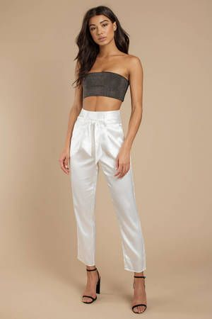 28f4fe056 Cate High Waisted Tie Front Satin Trouser in 2019 | Love | Satin ...