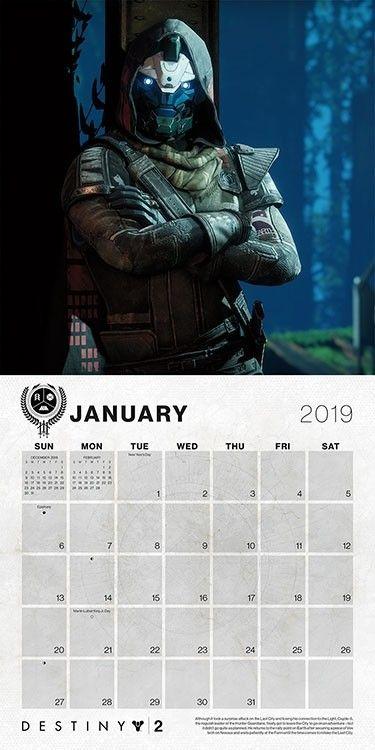 Gaming Calendar 2019 Destiny 2019 Wall Calendar #dateworksbytrends #dateworks #trends