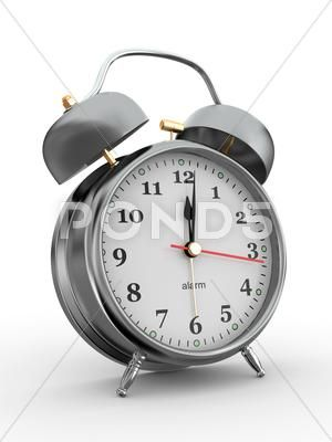 Midnight Old Fashioned Alarm Clock On White Background 3d Stock Illustration Ad Alarm Clock Midnight Fashioned Alarm Clock Clock Old Fashioned