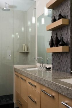 Custom Vanity With Floating Shelves By Interior Solutions Design Group Inc