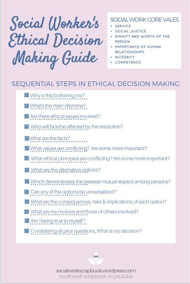 Ethical Dilemma Steps For Social Workers Social Work Values