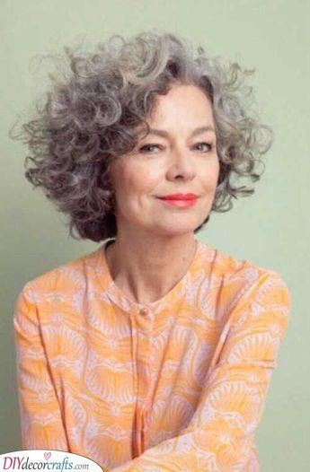 Curly And Beautiful Hairstyles For Women Over 50 Grey Curly Hair Curly Hair Styles Short Curly Haircuts