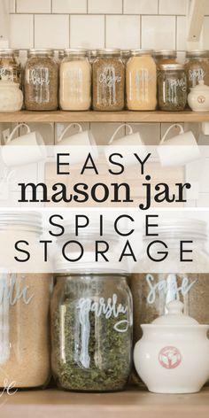 Mason Jar Spice Storage Pantry Solutions Spice Storage Mason Jar Storage Mason Jar Diy