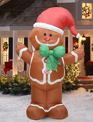 Fashionlite 8 Feet Christmas Xmas Inflatable Gingerbread Man Lighted Blowup Yard P Christmas Inflatables Outdoor Holiday Yard Decorations Christmas Inflatables