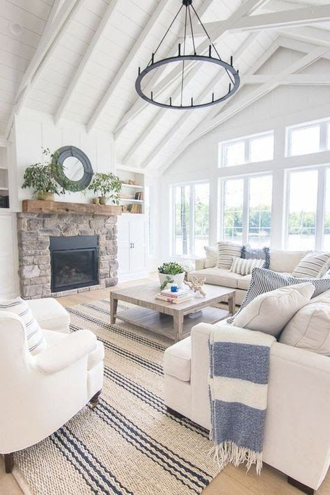 Hamptons Style Barn Elegant Home Style In Off White And Blue Farm House Living Room Blue And White Living Room Modern Farmhouse Living Room #off #white #living #room #furniture