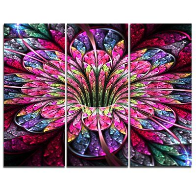 Design Art Pink Blue Colorful Flower 3 Piece Graphic Art On Wrapped Canvas Set In 2020 Flower Graphic Colorful Flowers Colorful Paintings