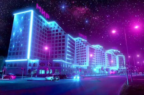 Casino Mir futuristic artwork russian digital art new retro wave synthwave neon led colors