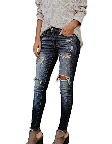 771eee0c44 Donna Pantaloni Sottile Denim Pants Lungo Pantalone Moda Strappati ...