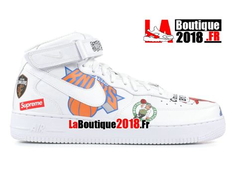 Supreme Nike Air Force 1 Mid Black NBA Logos AQ8017-100 Chaussures ...