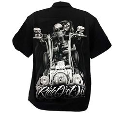 Mens Motorcycle Shop Shirts Ride Or Die My Old Lady By David
