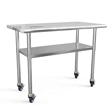 Amazon Com Stainless Steel Prep Table 48x24 Inches Commercial Work Table Food Metal Table Heavy Duty Kitchen In 2020 Stainless Steel Prep Table Metal Table Work Table