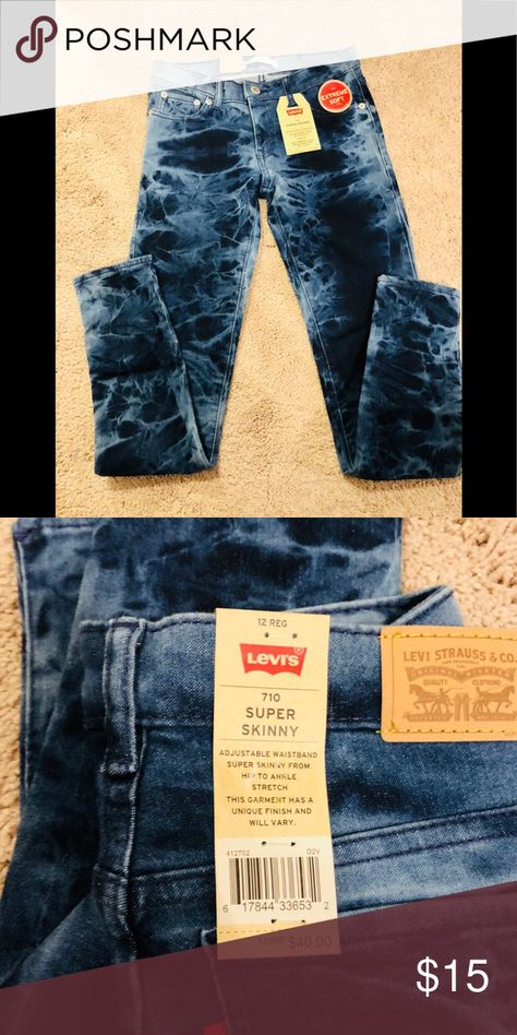 """6234a0cc9b70 NWT - Levi's Super Skinny Extreme Soft Jeggings Check out these NWT Girls  Levi's Super Skinny Levi's Extreme Soft Jeans with a """"tie dye"""" pattern."""