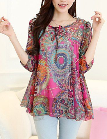 Bohemian Scoop Collar Full Pirnt Loose-Fitting Chiffon Sleeve Women's Blouse Cheapest and Latest women & men fashion site including categories such as dresses, shoes, bags and jewelry with free sh