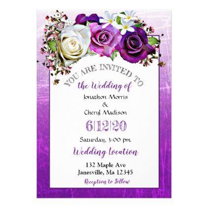 Purple Rose Lavender Floral Wedding Invitations Zazzle Com