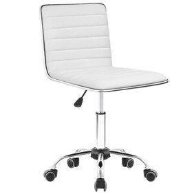 Walnew Ribbed Office Desk Chair High Back Leather Executive Conference Task Chair Adjustable Swivel Chair With Arms White Walmart Com In 2020 Vanity Chair Desk Chair White Desk Chair