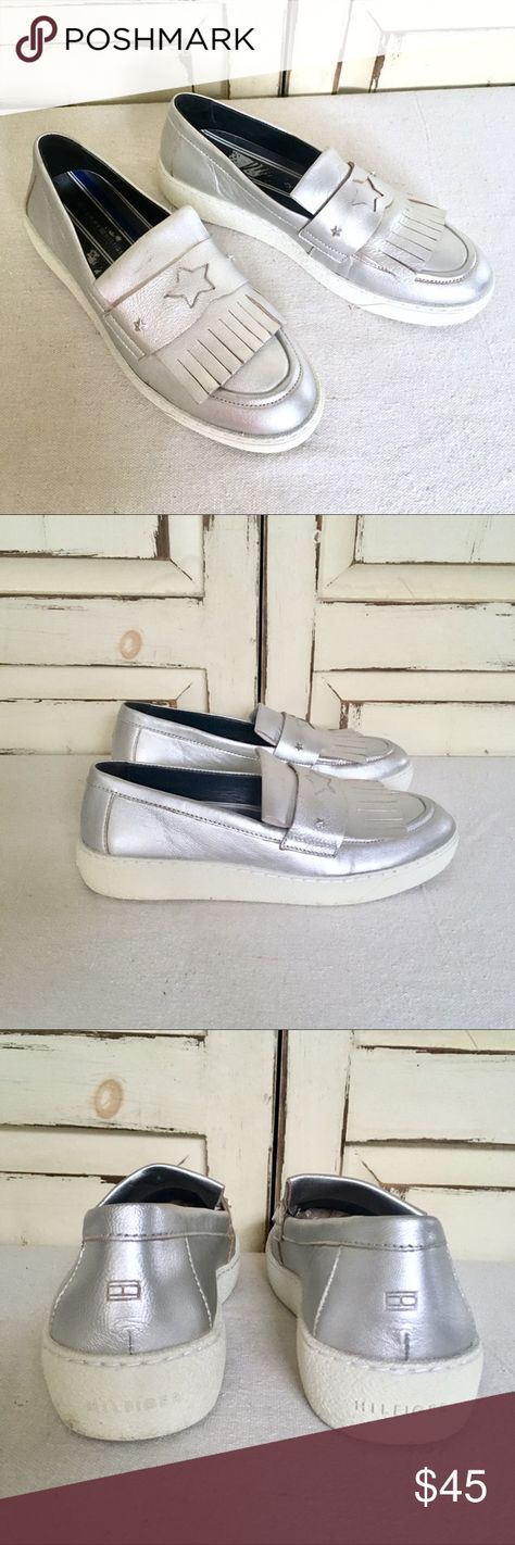 3dae40368cda6a Tommy Hilfiger Silver Leather Platform Loafer 8.5 Silver leather platform  slip on sneakers with white rubber